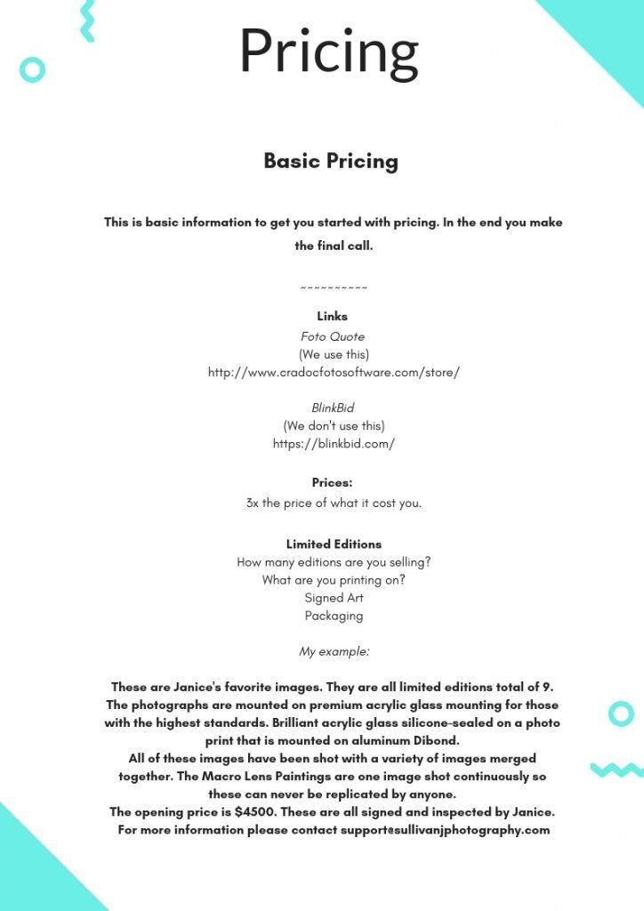 photography pricing, photo pricing